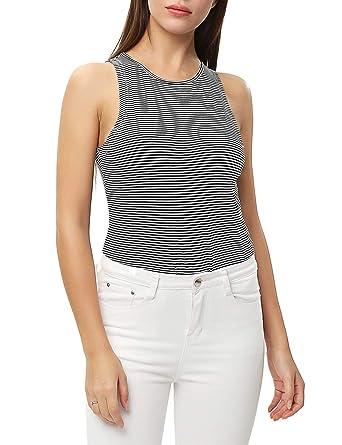 1aa235acdf8c ENIDMIL Women's Tank Top High Neck Sleeveless Bodysuit Jumpsuits(Black/White  Stripe, ...