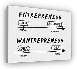 Entrepreneur Vs Wantrepreneur Motivational Wall Art Office Decor Canvas Print Inspirational Success Entrepreneurship Road Business Idea Framed Artwork Sign (12