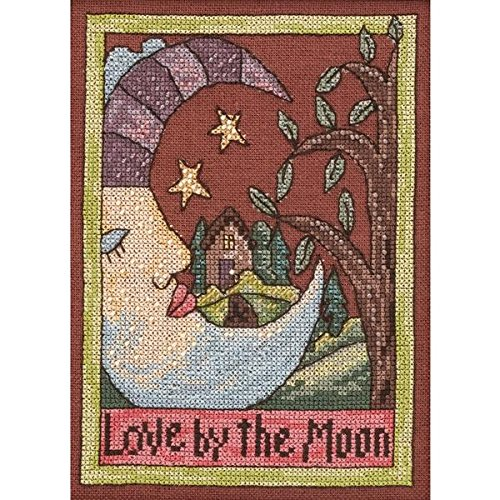Mill Hill ST303102 28 Count Sticks Love by The Moon Counted Cross Stitch Kit, 5 by 7-Inch, Linen (Moon Counted Cross Designs Stitch)