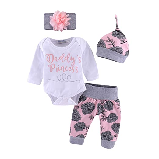 36c18e4f8 Infant Girl Clothes Baby Girl Outfits Pink Daddy's Princess Letter White  Romper+ Pink Floral Long Pants