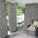 N&T 1 Piece Gray Trellis Gazebo Curtain Panel 84 Inch, Grey Moroccan Print Outdoor Curtain Water Resistant for Patio Porch, Light Filtering Indoor/Outdoor Curtain Pergola Sunroom Tab Top, Polyester