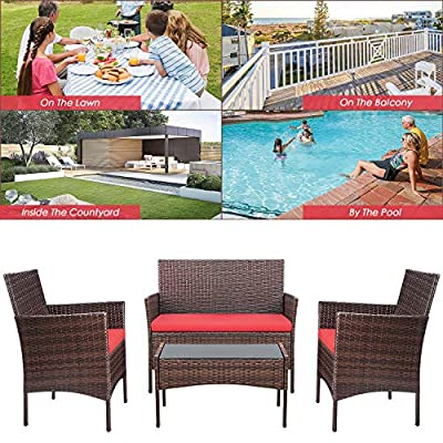 Homall 4 Pieces Outdoor Patio Furniture Sets Rattan Chair Wicker Set, Outdoor Indoor Use Backyard Porch Garden Poolside Balcony Furniture Sets