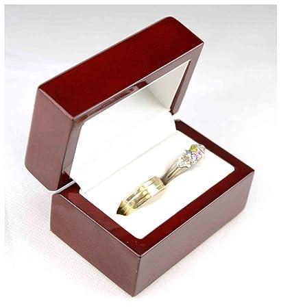 Madera de cerezo de doble anillo de la joyería de la caja de regalo