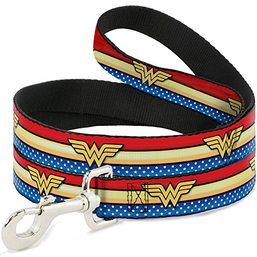 Imported Dog Leash - Wonder Woman Logo Stripe/Stars Red/Gold/Blue/White