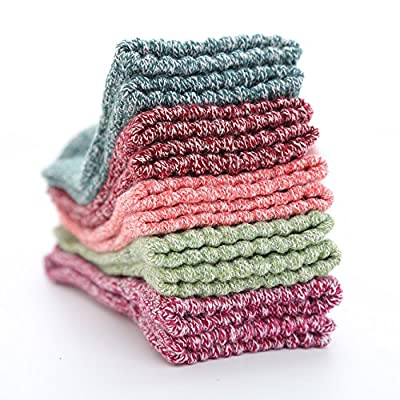 Ueither Womens 5 Pairs Vintage Style Knitting Wool Warm Winter Fall Crew Socks