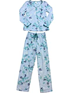 28a2fced11 Womens Light Blue Navy Teal Flower Leaf Fleece Pajamas Flower Holly Sleep  Set