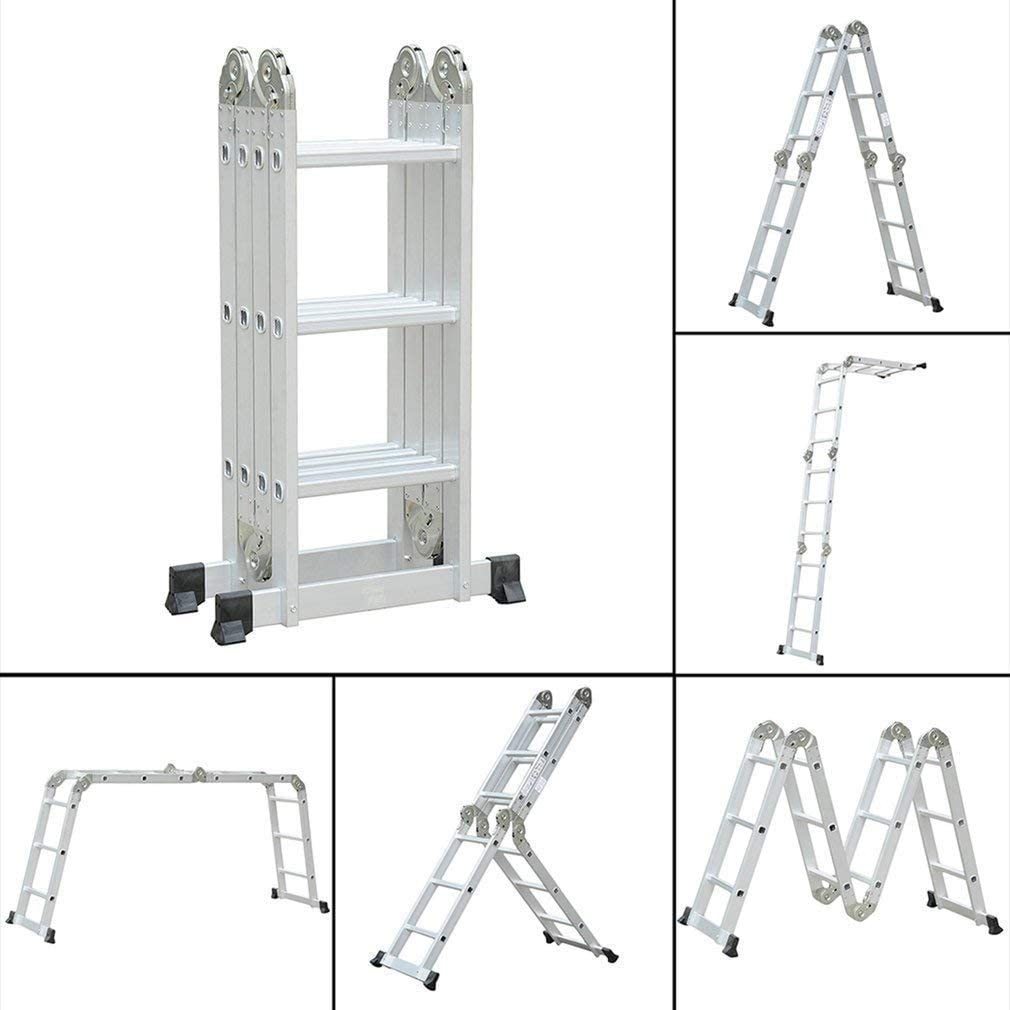 Escalera multiusos Escalera, civigroupey – Escalera con plataforma 4 x 3 peldaños de aluminio escalera de aluminio telescópica (pie escalera de alto de llamas aluminio Soporta hasta 150 kg): Amazon.es: Bricolaje y herramientas