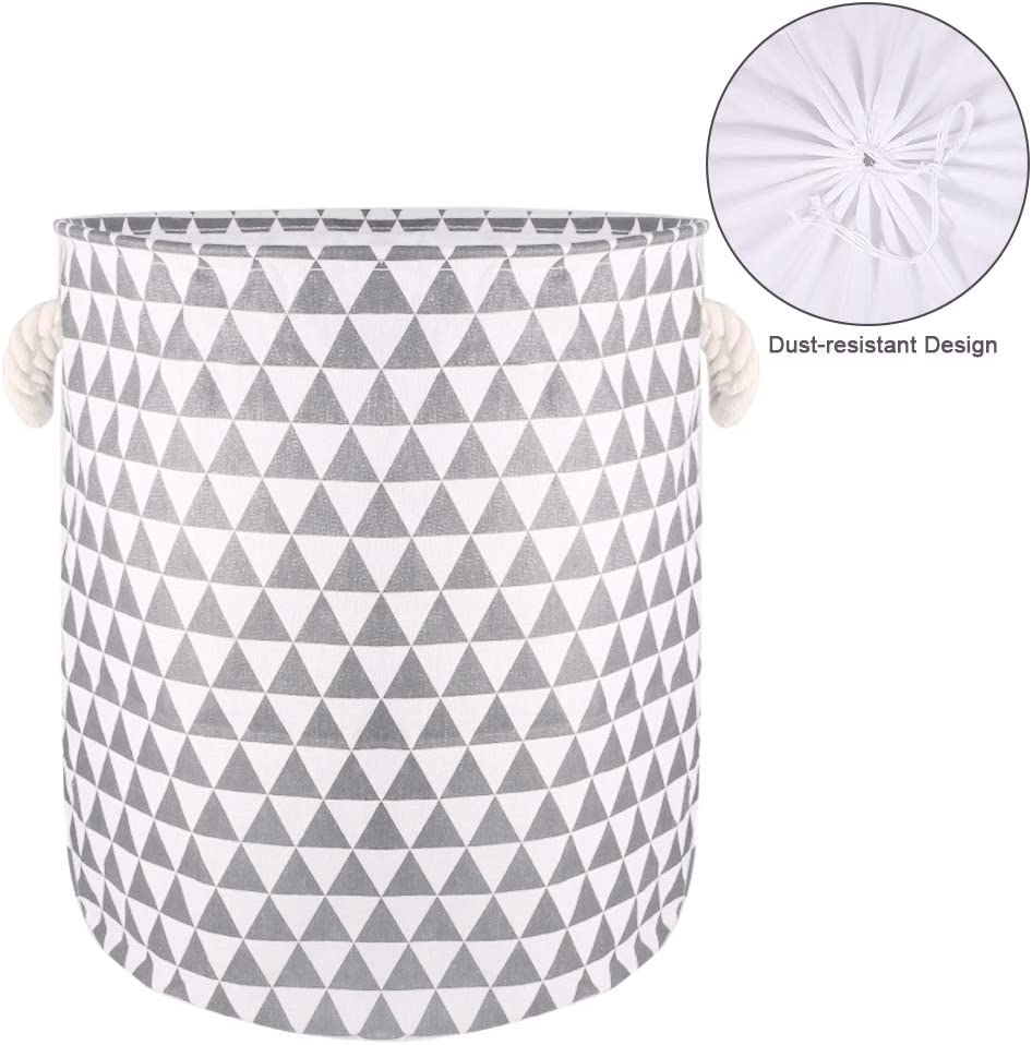 19.7-Inches Thickened Large Laundry Basket, Laundry Hamper with Durable Cotton Handle, Drawstring Waterproof Round Collapsible Storage Basket(Grey)