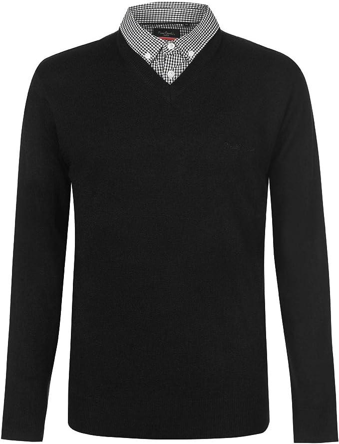 Pierre Cardin Jahreszeit V Ausschnitt und Rundhalsausschnitt Pullover mit Hemdkragen Mock Hemd Einsatz