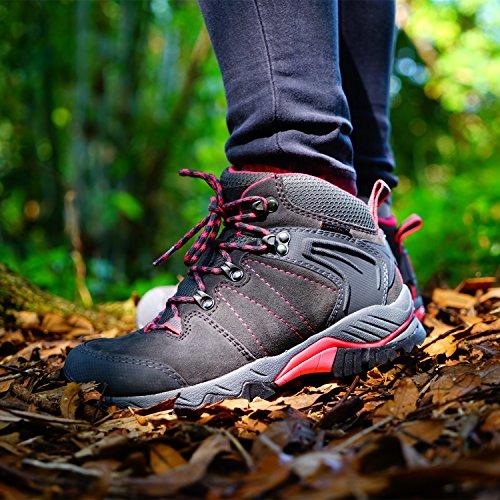 Clorts Womens Escursionista In Pelle Impermeabile Escursionismo Stivale Outdoor Backpacking Scarpa Hkm822 Grigio