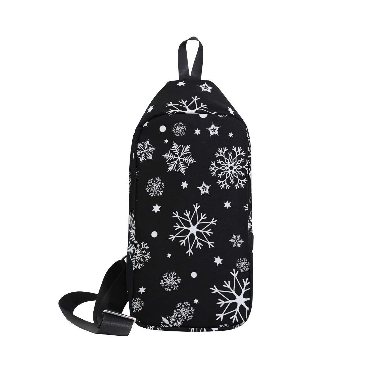 TFONE White Snowflake Pattern Crossbody Bag Lightweight Chest Shoulder Messenger Pack Backpack Sling Bag