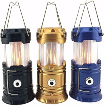 3-in-1 Camping Lantern Portable Outdoor LED Flame Lantern Flashlights Solar Camping Lantern Black