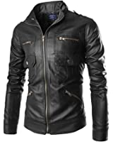 New Men's Spring Summer Fashion Long Sleeve PU Leather Slim Biker Stand Cut Collar Jacket Coat Outerwear with Multi Pockets