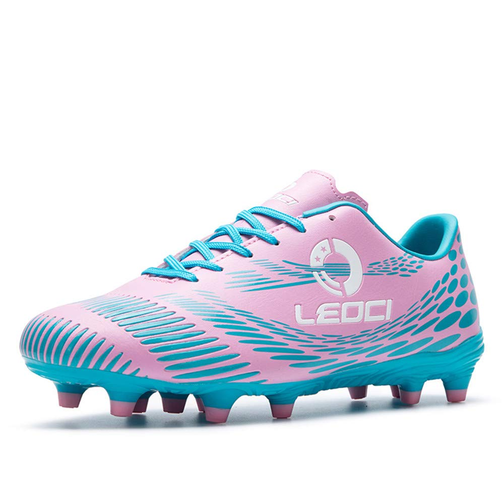 LEOCI Men's Firm Ground Soccer Cleats Outdoor/Indoor Boys Girls Professional Futsal Football Training Sneakers (7.5, Pink) by LEOCI