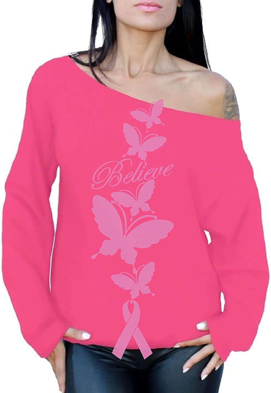 Awkward Styles Believe Cancer Awareness Off The Shoulder Oversized Sweatshirt