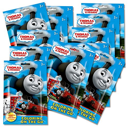 Thomas The Train Coloring Pack Party Favors in Resealable Pouches (Stickers, Crayons and Coloring Activity Book) - Set of 12 ()