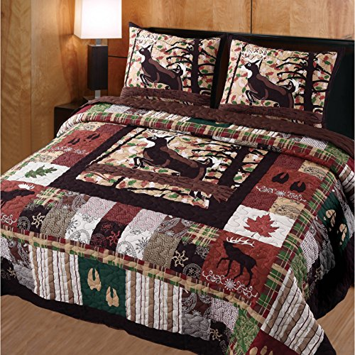 3 Piece Brown Red Plaid Full Queen Quilt Set, Lodge Animal Print Themed Bedding, Cabin Country Sqaures Tartan Lumberjack Pattern Cottage Woods Hunting Deer Moose Horizontal Vertical Stripes, Cotton by D&A