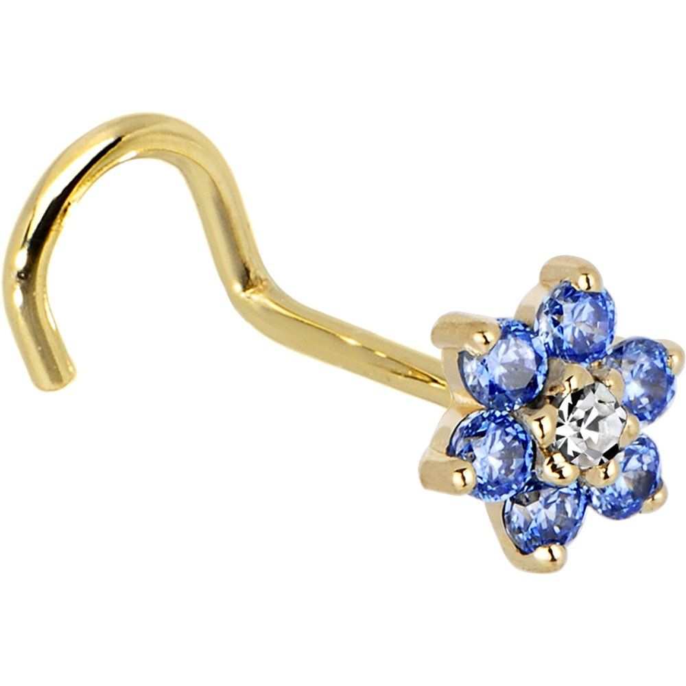 Body Candy Solid 14k Yellow Gold Arctic Blue and Clear Cubic Zirconia Flower Right Nose Stud Screw 20 Gauge 1/4'' by Body Candy