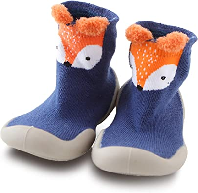 Baby Girls Boys Toddlers Moccasins Kids Floor Non-Skid Slippers Cute Animal Childrens Outdoor Infant Cotton Shoes Socks
