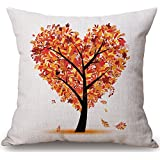 CaseShell Cotton Linen Throw Pillow Cover Home Decorative Cushion Case Yellow Autumn Fall Love Heart Tree Pillowcase 18*18 Inch