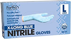 ForPro X-Long Blue Nitrile Gloves, Powder-Free, Latex-Free, Non-Sterile, Food Safe, 7 Mil, Large, 100-Count