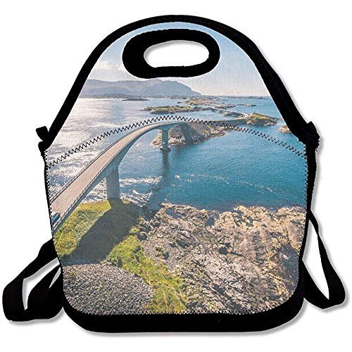 Aerial Drone Shot Of The Amazing And World Famous Atlantic Road In Norway Cute Lunch Tote Lunch Bag Outdoor Picnic Mid-sized