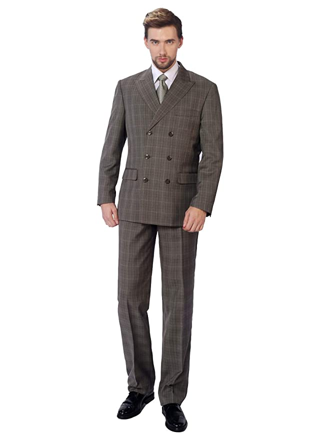 1940s Zoot Suit History & Buy Modern Zoot Suits P&L Mens Plaid Big & Tall 2-Piece Suit Dress Blazer & Flat Trousers $99.99 AT vintagedancer.com