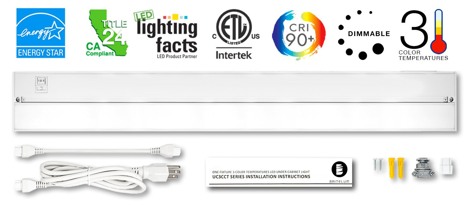 Britelum 32 Inch, 3-in-1 Color Temperature: Dimmable LED Under Cabinet Lighting; 2700K/ 3500K/ 4000K w/ CRI90+, Hardwired or Plug in, Energy Star, CA T24, ETL Listed,120V 15W 810 Lumens, White by Britelum
