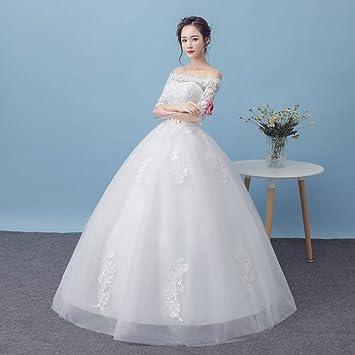 MOMO Vestido de Novia Blanco Nupcial Encaje en Las Mangas Palabra Princesa Vestido Temperamento Vestido de