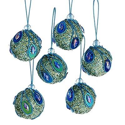 Kurt Adler 1 Set 6 Piece Peacock 2 Inch Ball Foam Ornaments