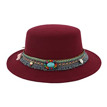 8b219c816f2 Image Unavailable. Image not available for. Color  Women Wide Brim Wool  Belt Felt Flat Top Fedora Hat Party Church Trilby Hats Cap New