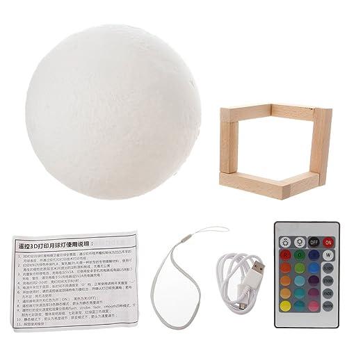 Meipai - Lámpara de mesa de noche con luz LED de 18 cm con USB 3D ...