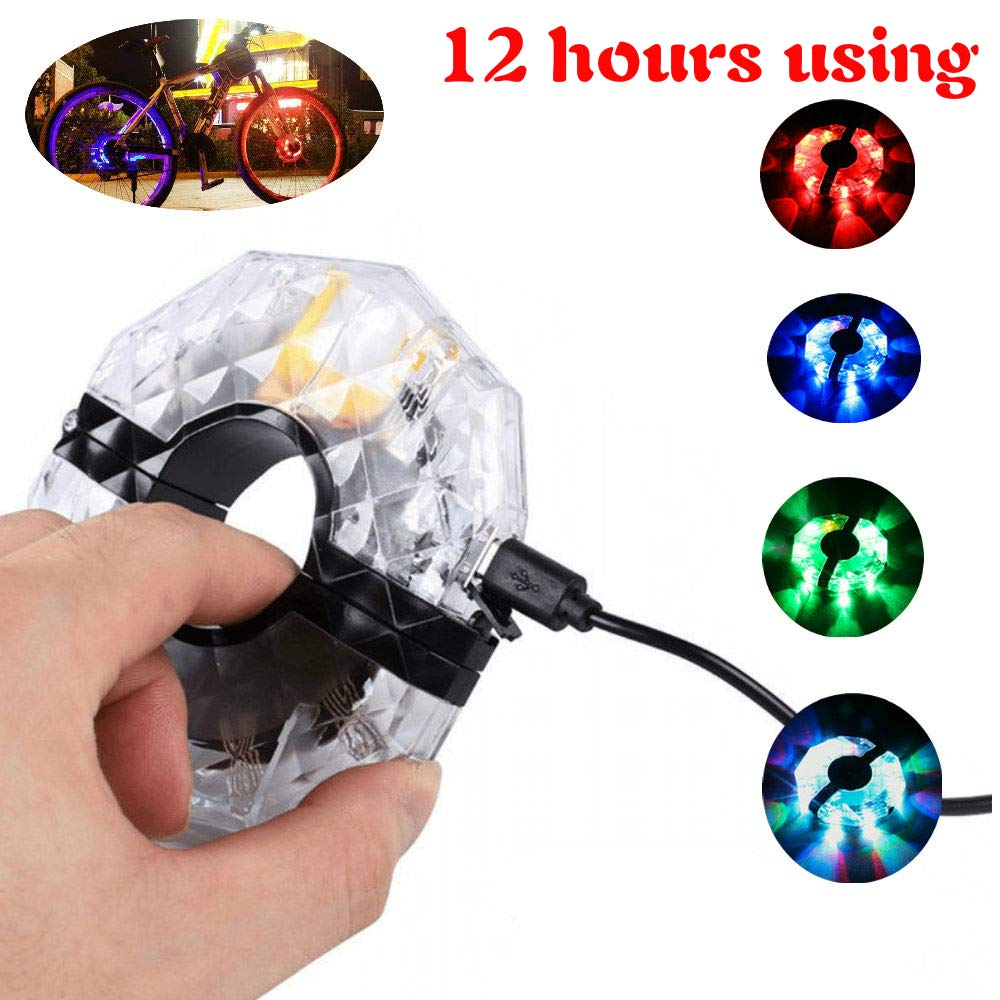 JUNEO TK-Star Bike Wheel Hub Lights USB Rechargeable12 Hours Using, 3 Modes Colorful LED Cycling Light,Waterproof Bicycle Wheel Lights Safety Warning to Road Bikes/Dirt Bikes/Mountain Bike