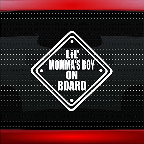 Noizy Graphics Lil' Momma's Boy On Board Cute Baby Car Sticker Truck Window Vinyl Decal Color: White