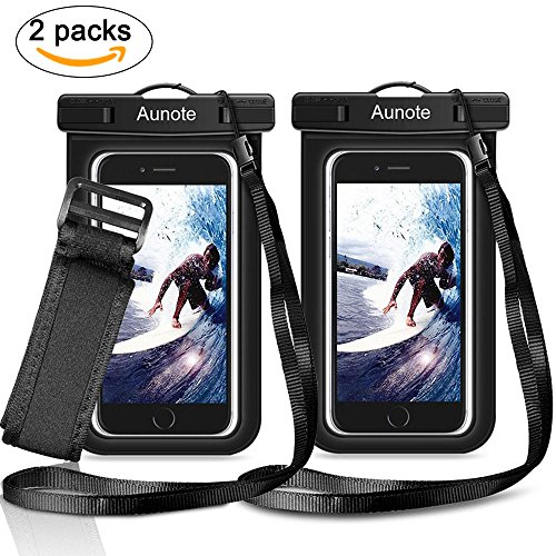 Waterproof Phone Case Aunote Universal Dry Bag Pouch With Lanyard Armband Men/Women Best carrying case For Apple iPhone 7 6 6s Plus 5s 5c Samsung Galaxy S8 S8 Plus S7 S6 Any Cell Phone Holder (2 Pack)](Best Iphone 4 Case)
