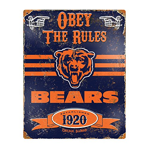 Party Animal NFL Embossed Metal Vintage Chicago Bears Sign