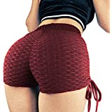 lumiyo Women's Sport Fitness Gym Stretchy High Waisted Ruched Butt Lifting Workout Running Yoga Shorts