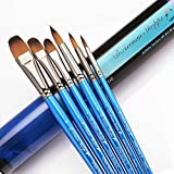 Paint Brushes Watercolor Acrylic Oil - Art Brush Set. Short Handle Painting Kit Best for Professional Artist. Filbert Round