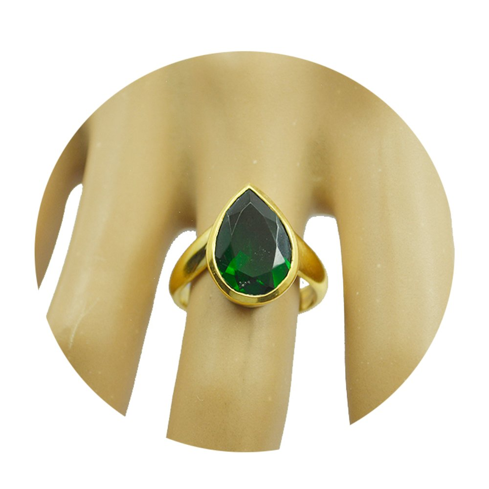 Jewelryonclick Pear Indian Emerald CZ Gold Plated Ring for Her Handmade Jewelry Size 4,5,6,7,8,9,10,11,12