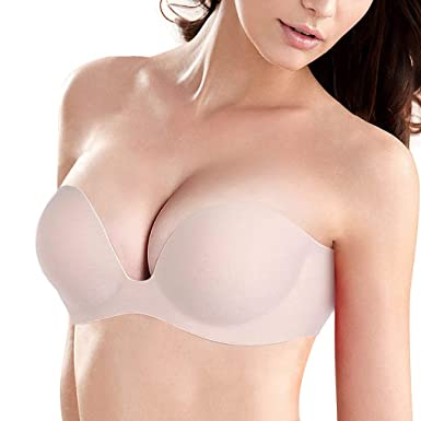 031cbe006c Strapless Backless Sticky Bra for Women Plunge U Shape Bras Push up Self  Adhesive Bras