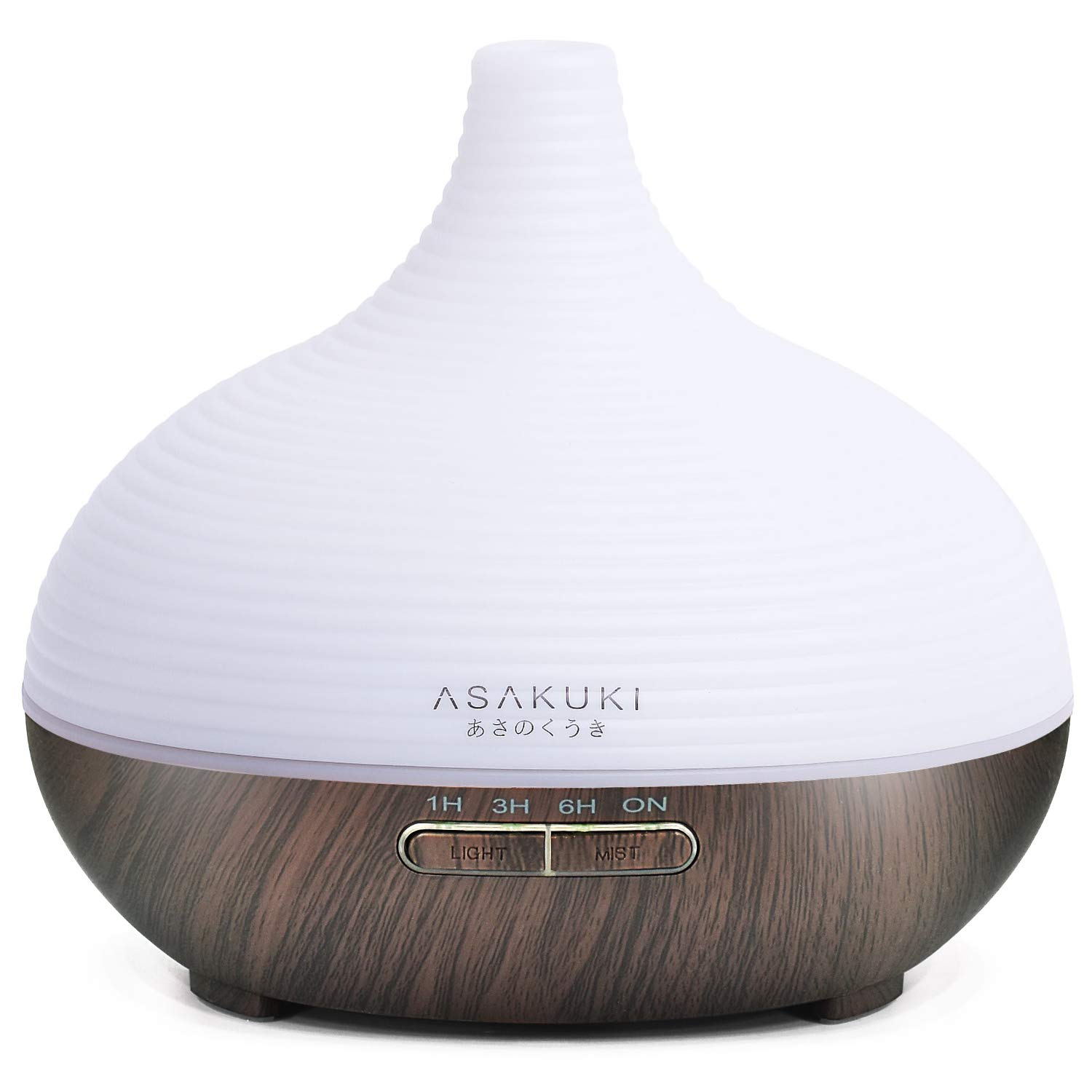 ASAKUKI 300ML Premium, Essential Oil Diffuser, Quiet 5-In-1 Humidifier, Natural Home Fragrance Diffuser with 7 LED Color Changing Light and Easy to Use