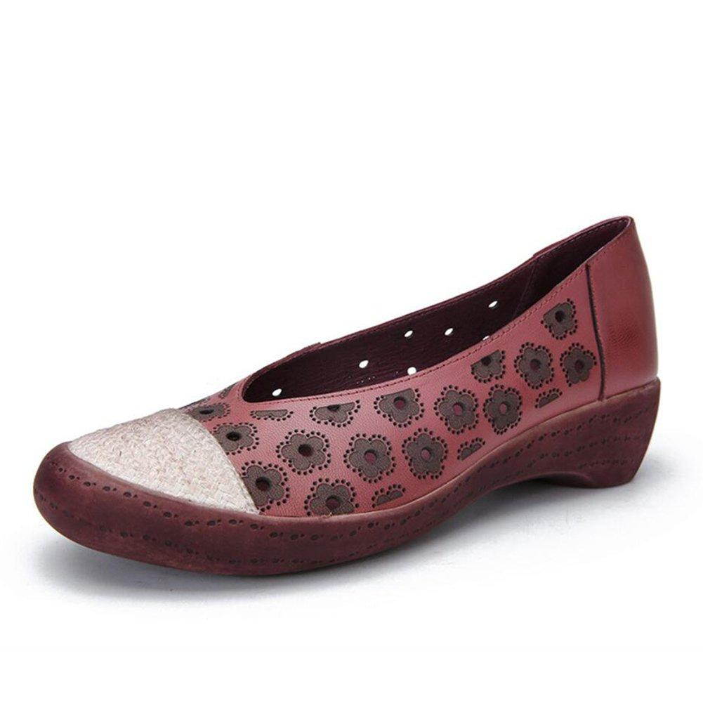 XUE Damenschuhe Leder Fruuml;hjahr/Sommer Loafers  Slip-Ons Fahr Schuhe National Style Sandalen/Hausschuhe  Flip-Flops Persouml;nlichkeit Walking Schuhe Office Breathable (Farbe : EIN, Grouml;szlig;e : 39)  39|Ein
