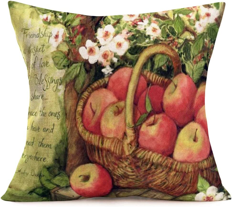 "YANGYULU Oil Painting Decorative Pillow Covers Cotton Linen Vintage Basket Apples Trees Lettering Pattern Square Pillowcase Decoration Home Sofa Cushion Cover 18""x18"" (Basket Apples)"
