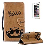 Funyye Brown Strap Case for iPhone 6,Cute Hello Panda Pattern Soft Wallet with Stand Credit Card Holder Slots Case for iPhone 6S,Full Body Anti Scratch Multifunctional Magnetic Flip Cover Soft Silicone PU Leather Case for iPhone 6/6S + 1 x Free Screen Protector