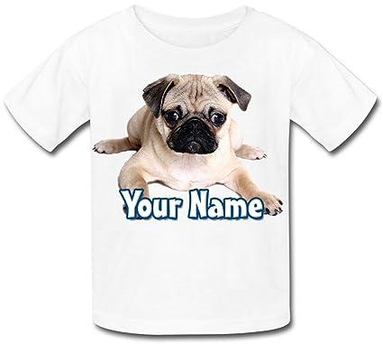Personalised Pug Puppy Kids T Shirt Amazon Clothing