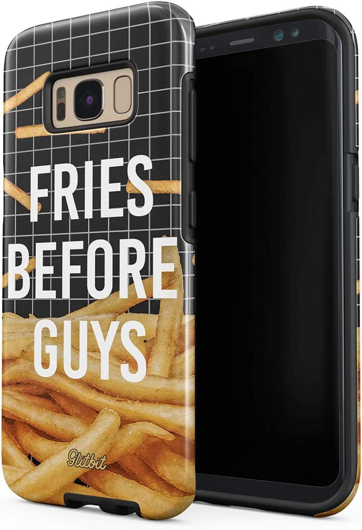 Glitbit Compatible with Samsung Galaxy S8 Plus Case French Fries Before Guys Pattern Skinny Chips Fast Junk Food Pizza Quote Heavy Duty Shockproof Dual Layer Hard Shell + Silicone Protective Cover