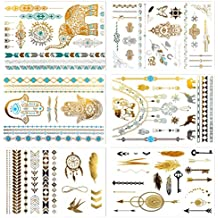 Metallic Temporary Tattoos, PrettyDate 6 Sheets 75+ Designs in Gold Silver Black, Fake Glitter Jewelry Tattoos- Bracelets, Necklaces, Wrist, Anklets and Armbands(Tribal Collection)