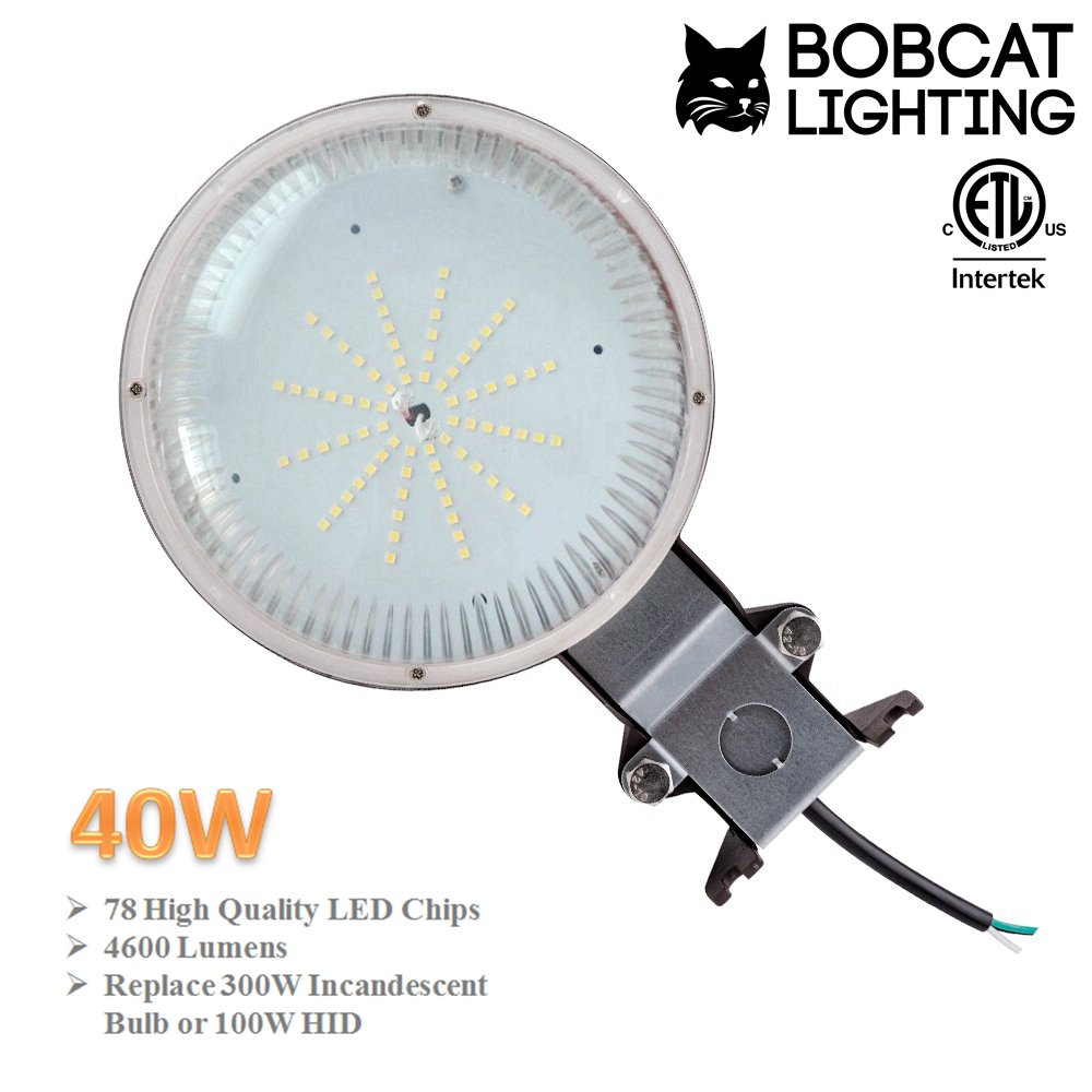 Bobcat 40w Led Area Light Dusk To Dawn Photocell Included 5000k Street Wiring Diagram Bypass Daylight 4600 Lumens Perfect Yard Or Barn Etl Listed 300w Incandescent