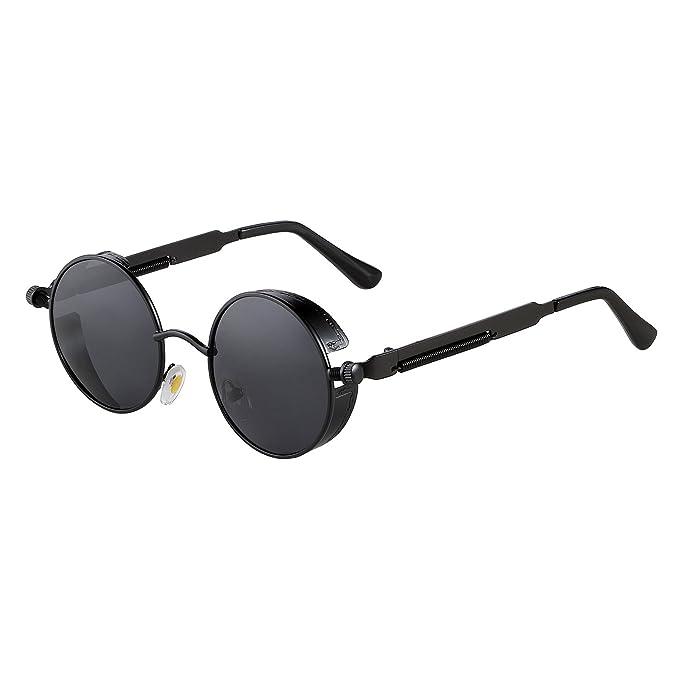 5d3de12025 ZHILE Vintage Hippie Retro Metal Perfect Round Circle Small Frame Sunglasses  with Polarized Lens 47mm (