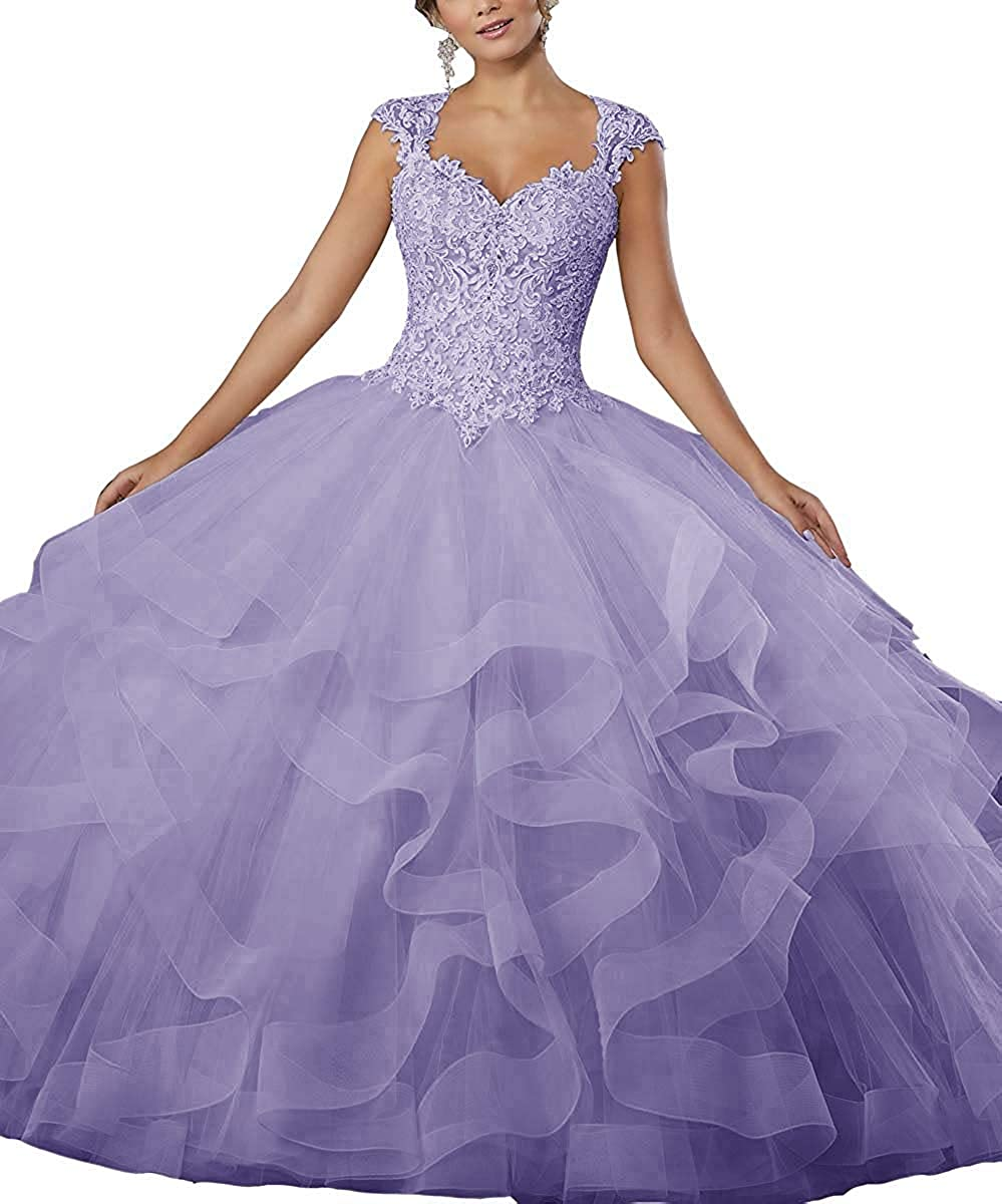 Lavender ZLQQ Women's Sweet 16 Lace Applique Beading Sleeveless Ball Gown Quinceanera Dresses